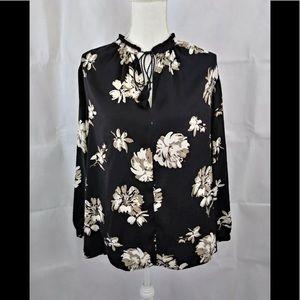 Lucky Brand 1X xxl black floral blouse vintage